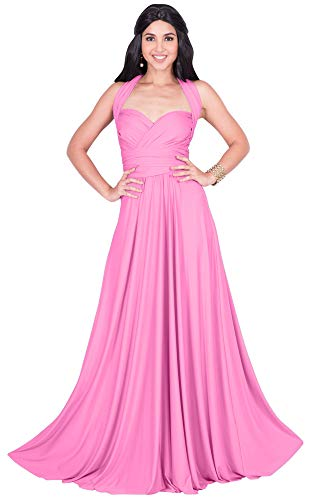 KOH KOH Petite Womens Long Bridesmaid Multi-Way Wedding Convertible Wrap Infinity Cocktail Sexy Summer Party Formal Prom Transformer Gown Gowns Maxi Dress Dresses, Hot Fuschia Pink XS 2-4
