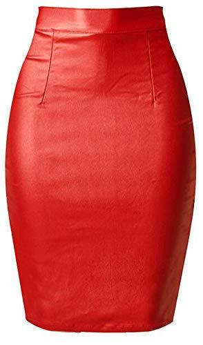 Lotus Instyle Jupe Fendue en Cuir synthtique  Taille Haute avec Fermeture clair pour Femme Red