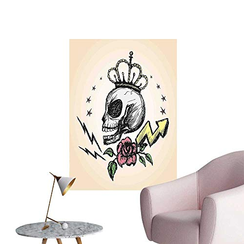 Wall Decoration Wall Stickers Mexican Folk Art Inspired Skeleton with Crown and Rose Halloween Artsy Design Yellow Print Artwork,32