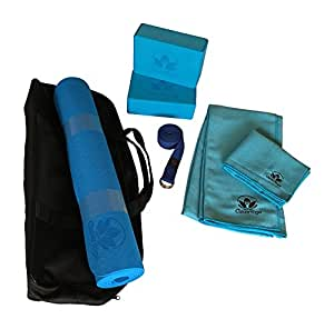 Clever Yoga Kit 7-Piece Set Bundle Including Ultra Thick 6mm TPE Mat, 2 Blocks, 8 Foot Yoga Strap, 1 Hand Towel, 1 Large Mat Towel and Extra Large Carrying Bag (Blue)