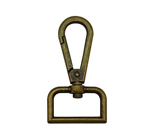 Tianbang bronzo 2,54 cm (1) diametro interno anello a D, chiusura a moschettone, con moschettone di chiusura a occhiello con gancio per tracolla, confezione da 6 5.24