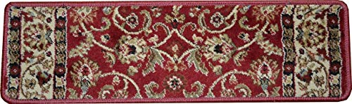 Claret Traditional Rug - Dean Premium Carpet Stair Treads - Classic Keshan Claret Red Rug Runners 31