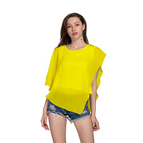 Fashion Story Women Casual T-Shirt Short Sleeve Chiffon Top Crew Loose Blouse Bat Sleeve