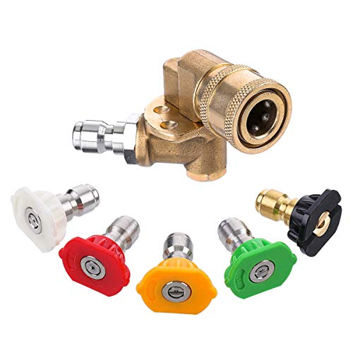 (MATCC Pressure Washer Spray Nozzles Kit 180°Quick Connecting Pivoting Coupler with 5 Rotation Angles,5 Pressure Washer Spray Tips, 1/4 inch, 4500PSI)