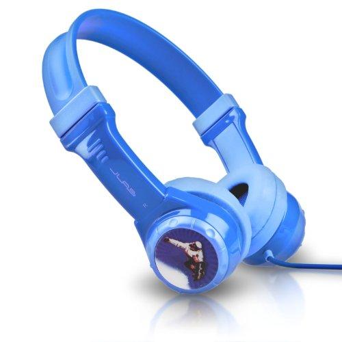 JLab JBuddies Non-Folding Kids Wired Headphones | Toddler Headphones | Noise Isolation | Kids Safe | Volume Limiting Headphones | Headphones for Children | Blue