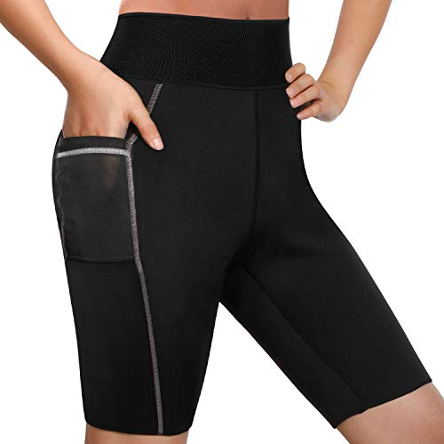 Junlan Weight Loss Shorts for Women Body Slimming Shaper Neoprene Pants Thermo Sauna Sweat Suit Yoga Leggings (Black, XXXL) - Neoprene Sweat Shorts