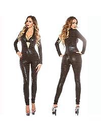 PU Wet Look Leather Catsuit Zipper Crotch Bodysuit,Women's Shiny Leopard Leather Bodysuit Leotard,Clubwear Conjoined Lingerie Pole Dance Night Club Stage Performance Clothing/M-2XL