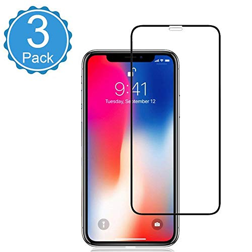 [3 Pack] iPhone Xs/X Glass Screen Protector Eastoan Screen Protectors [9H Hardness][Full Cover][No Bubbles] Compatible with Apple iPhone Xs/X [5.8Inch]