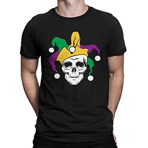 SpiritForged Apparel Mardi Gras Skull Jester Men's T-Shirt, Black XL]()