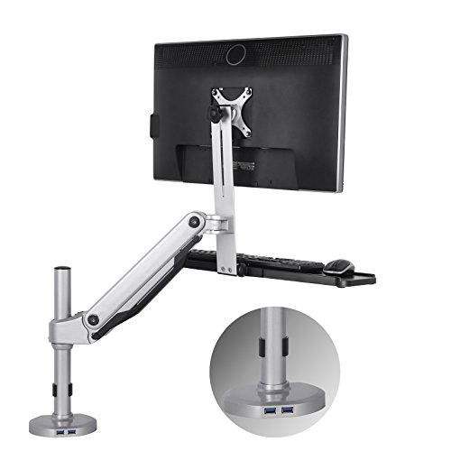 Loctek S1M Sit Stand Mount, Standing Mount, Height-Adjustable Sit to Stand Workstation, Monitor and Keyboard Mount, Fits 10'' - 30'' 19, 20, 21, 22, 23, 24, 27, 30 Inch Monitors by Loctek