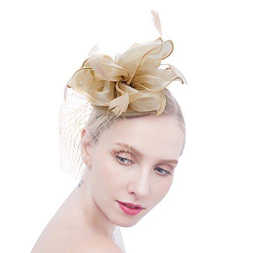 Felizhouse Flower Feather Fascinator Hats for Women Party Derby W/Headband Clip (Khaki) by Felizhouse