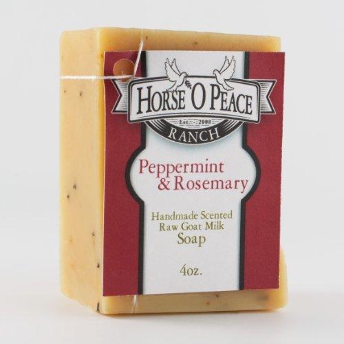 Handmade Herbal 100% Raw Goat Milk Peppermint & Rosemary Soap (4oz./Bar)