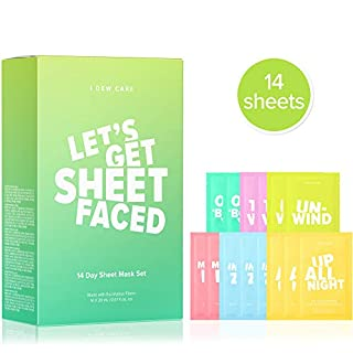I DEW CARE Let's Get Sheet Faced Face Sheet Mask Pack | Set of 14 Sheet Masks Self Care Gifts for Women | Collagen, Acai Berry, Tea Tree Oil, Eucalyptus, Olive | Korean Skincare, Beauty Gift Set, Facial Treatments, Cruelty-Free, Paraben-Free