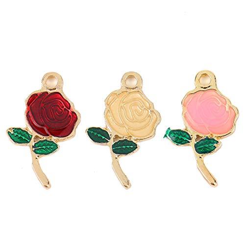 Pomeat 30Pcs Enamel Rose Flower Charm Pendant Enamel Flower Charms Bulk for Jewelry Making and Crafting - ()
