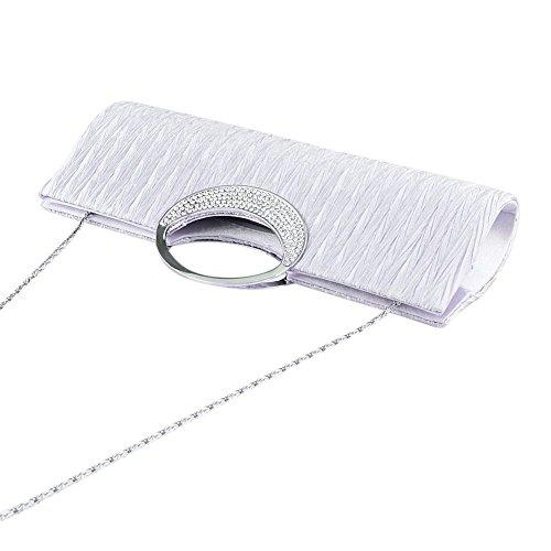 Bag Clubs Party Women Timeless Clorislove Shoulder Handbag Silver Evening Clutch Satin Bag For Wedding Pleated Rhinestone Diamante amp; gwxaPqg1R