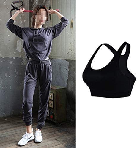 ヨガスーツ、女性用3ピースアクティブウェアセット/フード付き長袖ランニングスーツ体操服トレーニングワークアウトスポーツウェア