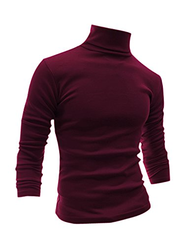 uxcell Men Slim Fit Lightweight Long Sleeve Pullover Top Turtleneck T-Shirt Burgundy M (US 40)