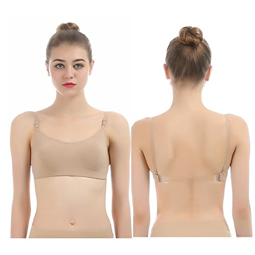 iMucci Professional Beige Clear Back Bra NO Sponge - Seamless Backless Freebra with Adjustable Clear Straps for Ballet Dance Party Child 12-16 Years ()