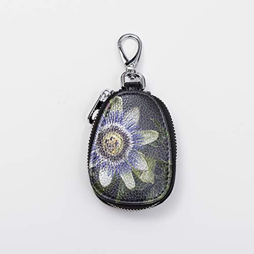 Custom Key Shaped Ring Cute Mini Collectors Coin Case Passion Flower Blossom Bloom Passiflora Leather Key Ring Pendant Fasion Zipper Car Key Chain Rings For Auto Car Remote Smart Key Universal
