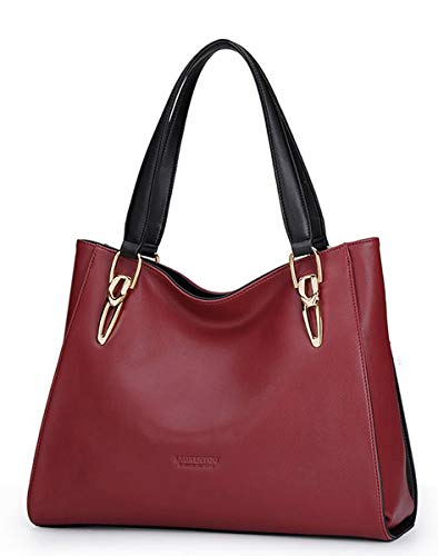 Cow Leather Skin Handbag - Women Roomy Cow Leather Tote Handbags Well Constructed Shoulder Bag Burgundy