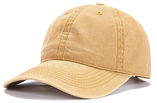 Edoneery Adjustable Washed Twill Low Profile Cotton Baseball Cap Hat(Yellow) ()