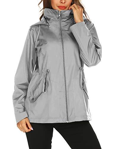 Doreyi Rain Jacket Waterproof Windbreaker Lightweight Packable Raincoat with Hood Breathable Lining for Outdoor