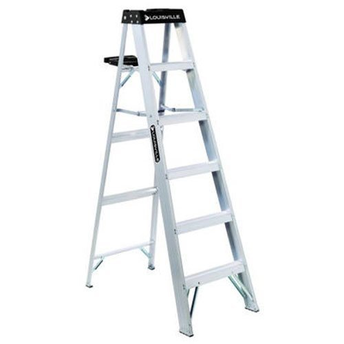 Louisville Ladder AS3006 300-Pound Duty Rating Aluminum Step Ladder, 6-Foot Aluminum Platform Step Ladder