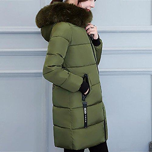 Parka Lammy verde cálido Chaqueta mujeres Abrigo de más grueso Ejercito Amlaiworld de largo Abrigo Outwear grueso invierno Taq77wO