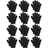 Coobey 12 Pairs Kids Warm Magic Gloves Teens Winter Stretchy Knit Gloves Boys Girls Knit Gloves (6-12 Years, Black)