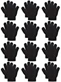 Coobey 12 Pairs Kids Warm Magic Gloves Teens Winter Stretchy Knit Gloves Boys Girls Knit Gloves (4-6 Years, Black)
