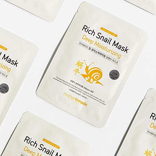 951d2c8eb7ba MOTHER MADE Deep Moisturizing Rich Snail Face Sheet Mask with Snail  Secretion Filtrate 5,000 ppm, Pack of 10, for Hydrating, Anti-Aging