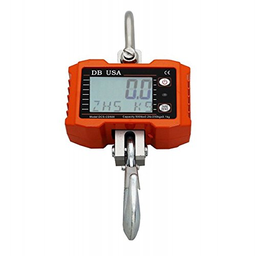 DB USA Digital Crane Scale, DCS-CD 2000lb / 1000 kg, LCD Display with Backlight, Precision Compact Hanging Scale