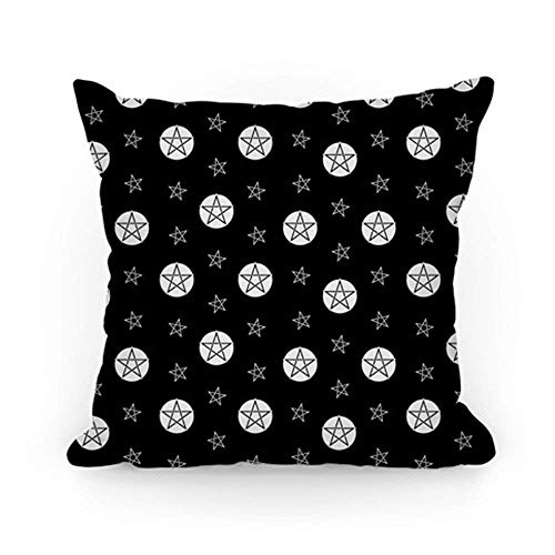 ACOVE Black and White Wicca Pentacle Pattern Throw Pillow Covers Cushion Case 18x18 inch ()