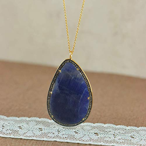 Sivalya 18K Yellow Gold Plated Sterling Silver Raw Sapphire and Diamonds Accent Necklace - Luxury Gift for Women - Gift Packaging Included
