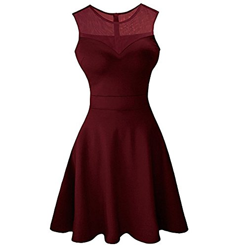 Women's A-Line Pleated Sleeveless Little Cocktail Party Dress with Floral Lace Red
