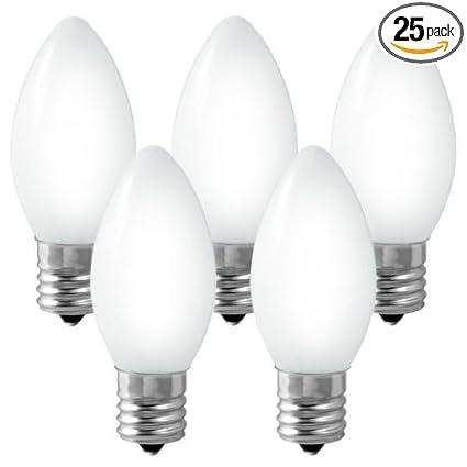 C7 - Ceramic White - 5 Watt - Candelabra Base - Christmas Lights ...