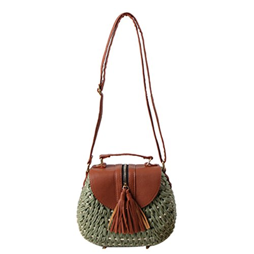 Small Bag Straw Green Woven Woven Bag Rope Shoulder Beach Paper Bag Oblique Bag Fresh Holiday tABwnqx