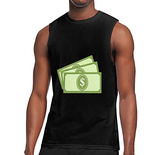 United States Banknotes - United States Dollar Banknotes Men's Sleeveless T-Shirt,100% Cotton Round Neck Tee,Muscle Running Tank Top Black