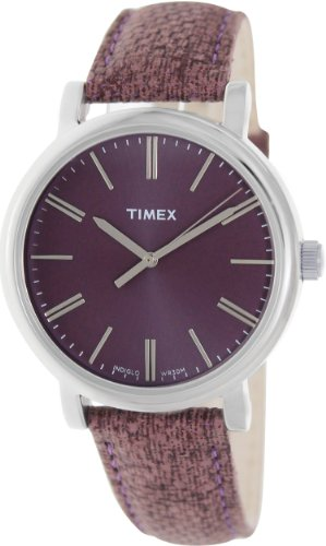 Timex Women's T2P172 Purple Leather Analog Quartz Watch with Purple Dial