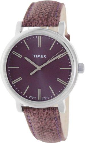 Timex Women's T2P172 Purple Leather Analog Quartz Watch with Purple Dial