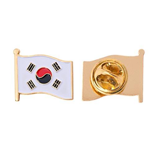 South Korea Country Flag Lapel Pin Enamel Made of Metal Souvenir Hat Men Women Patriotic Korean (Waving Flag Lapel Pin)