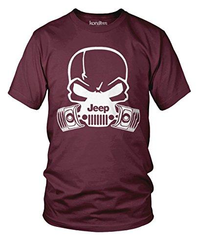 Jeep Skull Gas Mask Hardcore Piston T-Shirt - (Maroon) 2XL (Mask Maroon)