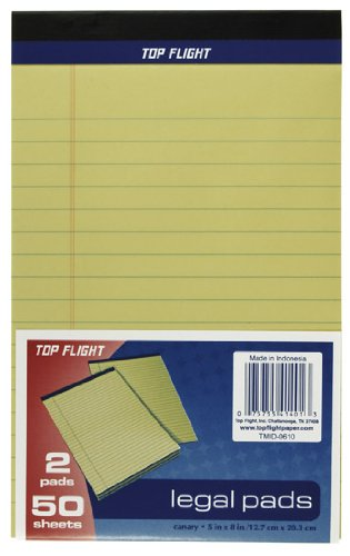 Top Flight Legal Pads, 5 x 8 Inches.375 Inch Rule, Canary, 50 Sheets per Pad, 2 Pads per Pack (4620601) Topflight Inc.