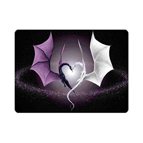(YLOT Black White Dragon Heart Front Door Mat 15.7