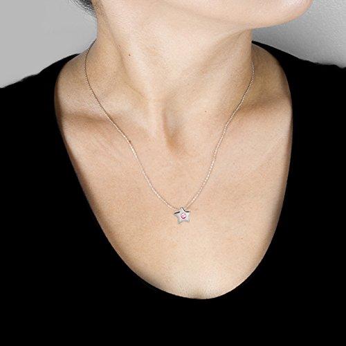 Façade Saphir rose Pendentif étoile en or blanc 14K (40,6cm Chaîne)