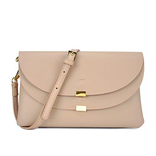 Womens Multi Compartment Cross Body Clutch Handbag Soft Wristlet Shoulder Bag Ipad Mini Purse by Dasein