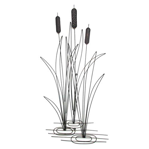 Decorative Metal Cattail Motif Wall Plaque