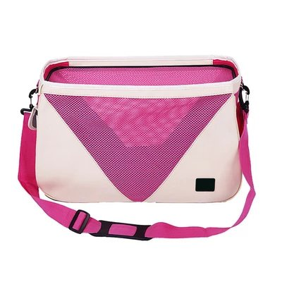 Small Portable Dog Backpack Pet Bag Multi-Function Folding Cat Breathable Travel Shoulder Bag Handbag Pink Nylon