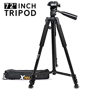 Xtech Pro Series 72' inch Tripod with Carrying Case, 3 way Pan-Head, for Nikon Coolpix A900, B500, B700, L340, L840, L830, W300, W100, P900, P610, AW130, AW120, S9900, S9700, S7000, S6900 P530