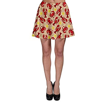 CowCow Red Lobster and Crab Lemon and Dill Pattern Skater Skirt